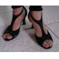 Damă Latin Sală Dans Salsa Satin Sandale Cataramă Toc Stilat Negru 7.5cm NePersonalizabili