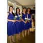 Linia -A Prințesă Gât V Lungime Genunchi Șifon Rochie Domnișoară Onoare cu Cruce de LAN TING BRIDE®