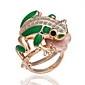 superba cubic zirconiu 18k placat cu aur broasca inel de moda (mai multe culori)