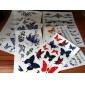 6 st fjäril och ökade blandade tillfällig tatuering