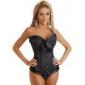 LuckyOne de mătase pentru femei Panglică corset negru