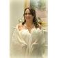 Linia -A Prințesă Bretele Spagheti In Formă de Inimă Lungime Genunchi Șifon Rochie Domnișoară Onoare cu Drapat Flori de LAN TING BRIDE®