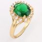 KU NIU femei aur placare zircon 1cm Ring J1667