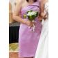 Linia -A Prințesă Pe Umăr Lungime Genunchi Satin Rochie Domnișoară Onoare cu Drapat Părți de LAN TING BRIDE®