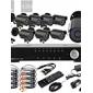 8CH D1 realtid H.264 600TVL Högupplöst CCTV DVR Kit (8st Vattentät Dag Natt CMOS-kameror)