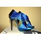 Pantofi pentru femei - Satin / Satin Elastic - Toc Stiletto - Tocuri - Sandale - Nuntă - Albastru