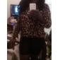 Femei de moda noua șifon Bluza Leopard maneca lunga Hem High-Low Loose Topuri Shirt