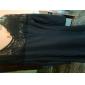femei puf dantelă maneca despicare peplum rochie mini