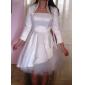 Prințesă Fără Bretele Lungime Genunchi Satin Tulle Rochie de mireasă cu Arc de LAN TING BRIDE®