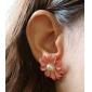 Cercei Stud Cute Stil Perle Lemn Flower Shape Margaretă Roz Bijuterii Pentru Zilnic