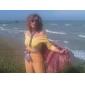 Dame Nuntă Boho Larg / Tunică Rochie-Imprimeu Manșon scurt Rotund Mini Verde Mătase / Bumbac / Poliester Vară Talie Medie Strech Mediu