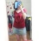 Femei dulce solid Culoare zburli scurt mâneci T-shirt