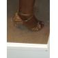 Damă Latin Sală Dans Satin Sandale Piatră Semiprețioasă Imitație Perle Toc Flared Bronz Bronz 5cm NePersonalizabili