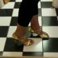 Pentru femei Latin Sală Dans Imitație de Piele Sandale Sclipici Strălucitor Cataramă Toc Îndesat Argintiu Auriu NePersonalizabili