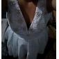 Linia -A Prințesă Gât V Lungime Genunchi Tafta Rochie de mireasă cu Mărgele Cruce de LAN TING BRIDE®