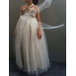 A-line printesa podea lungime floare fată rochie - tulle fără mâneci halter cu floare de lan ting bride®