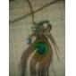 Canlyn femeii pene de păun de moda cu colier de diamante