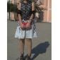 frunze de imprimare rochie din dantela despicare fără mâneci pentru femei