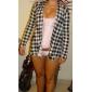 Femei alb-negru Plaid Coat