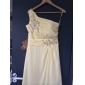 Linia -A Prințesă Pe Umăr Asimetric Șifon Bal Seară Formală Rochie cu Mărgele Aplică Drapat Părți Ruching de TS Couture®