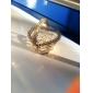 inima de metal în formă de sac favoarea aur cu delicate de organza (set de 12)