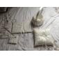 de colectare de nunta stabilit în satin alb cu covery broderie rafinat și perle faux (4 bucăți)