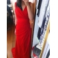 Coloană / Teacă Gât V Glugă Mătura / Trenă Șifon Seară Formală Rochie cu Drapat Părți de TS Couture®
