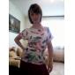 Femei Punctul guler pene albe Floral Print Shirt