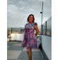 Femei Purple Floral Print șifon Dress Slim