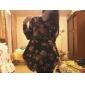 Lenjerie de imprimare v gât flora mânecă lungă rochie mini pentru femei