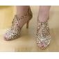 Femei personalizate Leopard Satin superioare Pantofi de dans T-curea