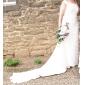 Coloană / Teacă Trenă Court Șifon Rochie de mireasă cu Mărgele Drapat Părți de LAN TING BRIDE®