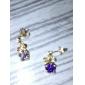 placat cu aur de 18k de moda mare cercel de cristal rotund (de culoare aleatorii și stil de cadouri)