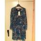 NUO WEI SI®   Women's All Match Floral Print Long Sleeve Dress