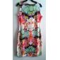Vintage Floral Print mâneci Z & G femeii Dress
