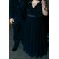Coloană / Teacă Gât V Lungime Podea Șifon Seară Formală Bal Militar Rochie cu Cruce Pliuri de TS Couture®
