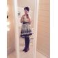 Jupe Doux Princesse Cosplay Vêtrements Lolita Bleu Imprimé Lolita Moyen Jupe Pour Femme Polyester