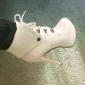 Damă Pantofi Imitație de Piele Primăvară Toamnă Iarnă Toc Stilat Platformă Cizme/Cizme la Gleznă Dantelă Pentru Rochie Negru Alb Maro
