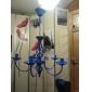 E14x5 Sky Blue Color Krona Modern hängande ljus för Sovrum Vardagsrum