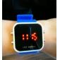 Ceas Unisex Curea de Silicon Sport Stil Gelatinos Cadran Pătrat cu Oglindă LED - Albastru