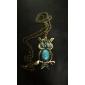 Pistol de culoare placat Vintage Owl Albastru bijuterie colier