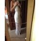 Crema croșetat dantelă accent rochie maxi de seară pentru femei