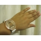 Mulan pu femei de piele rochie ceas cu stras-3 (alb)