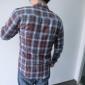 A bărbaților Cămașă Bumbac / Poliester Plisat Casual / Mărime Mare Manșon Lung Maro / Roșu / Alb