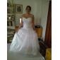 Haine Bal In Formă de Inimă Trenă Court Organza Rochie de mireasă cu Mărgele Aplică Cruce Ruche de LAN TING BRIDE®