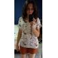Femei Punctul guler Bowknot Lipstick Floral Print Shirt