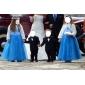 A-line Printesa podea lungime floare fată rochie - organza satin fără mâneci gât bijuterie cu draping de lan ting bride®