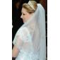 Voal de Nuntă Două Straturi Voaluri Lungi Până la Cot Margine cu Aplicație de Dantelă 33.46 în (85cm) Tul IvoriuA-line, Rochie de Bal,