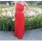 Coloană / Teacă Pe Umăr Lungime Podea Șifon Bal Seară Formală Bal Militar Rochie cu Mărgele Drapat Părți de TS Couture®