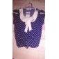 polka dot femei albastru / bluză roșie, arc ocazional cu maneci scurte arc